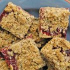 Jam crumble squares with red lentils