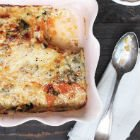 Squash & sweet potato gratin with greens