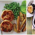 Real Fast Food: Tuna cakes with potato wedges & peas and berry cobbler