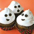 Chocolate zucchini cupcakes with marshmallow ghosts
