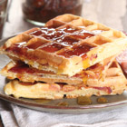 Bacon-stuffed cornmeal waffles