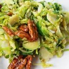 Brussels sprout slaw with grainy mustard vinaigrette and maple pecans