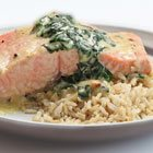Cream-poached Salmon with Greens