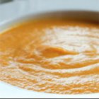Curried sweet potato, carrot & red lentil soup with ginger