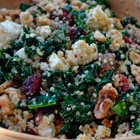 Kale and quinoa salad with cranberries and feta