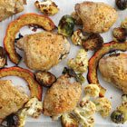Sheet pan roasted chicken thighs & veggies and easy leftover curry