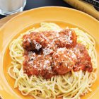 Spaghetti with instant sausage meatballs