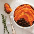 Sweet Potato Cottage Pie and Maple Baked Pears