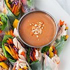 Rainbow fresh rolls with peanut dipping sauce