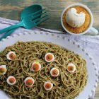 Pesto pasta with pumpkin mug cake