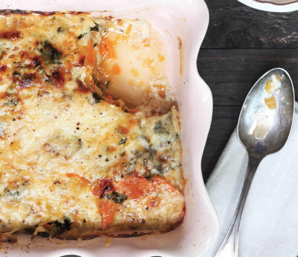 Squash and Sweet Potato Gratin With Greens