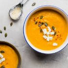 Curried Sweet Potato, Carrot and Red Lentil Soup with Ginger