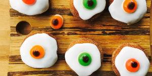 doughnuts iced to look like spooky eyeballs