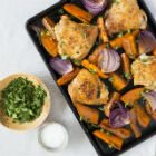 One-Pan Chicken Thighs with Sweet Potato Wedges