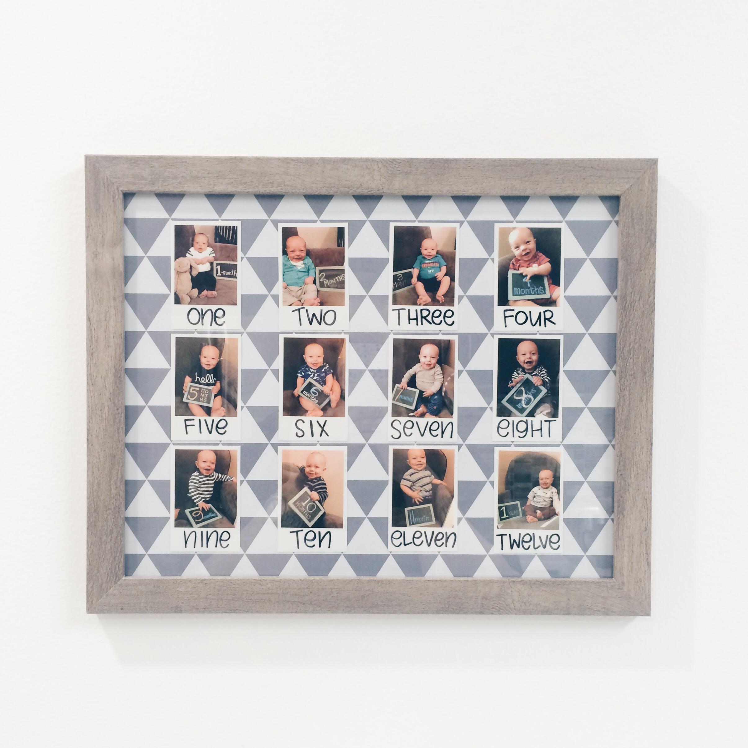 3x3 collage of Polaroid baby photos