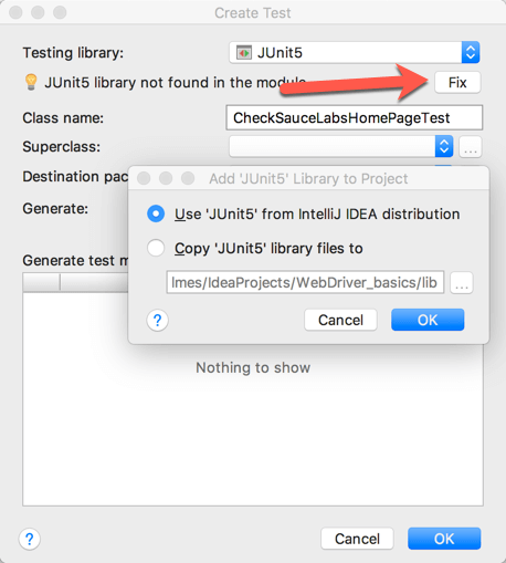 Use JUnit 5 from library