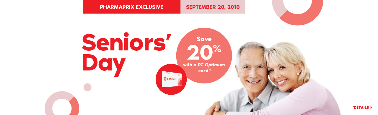Seniors save 20% with a PC Optimum card on regular priced merchandise at Pharmaprix.