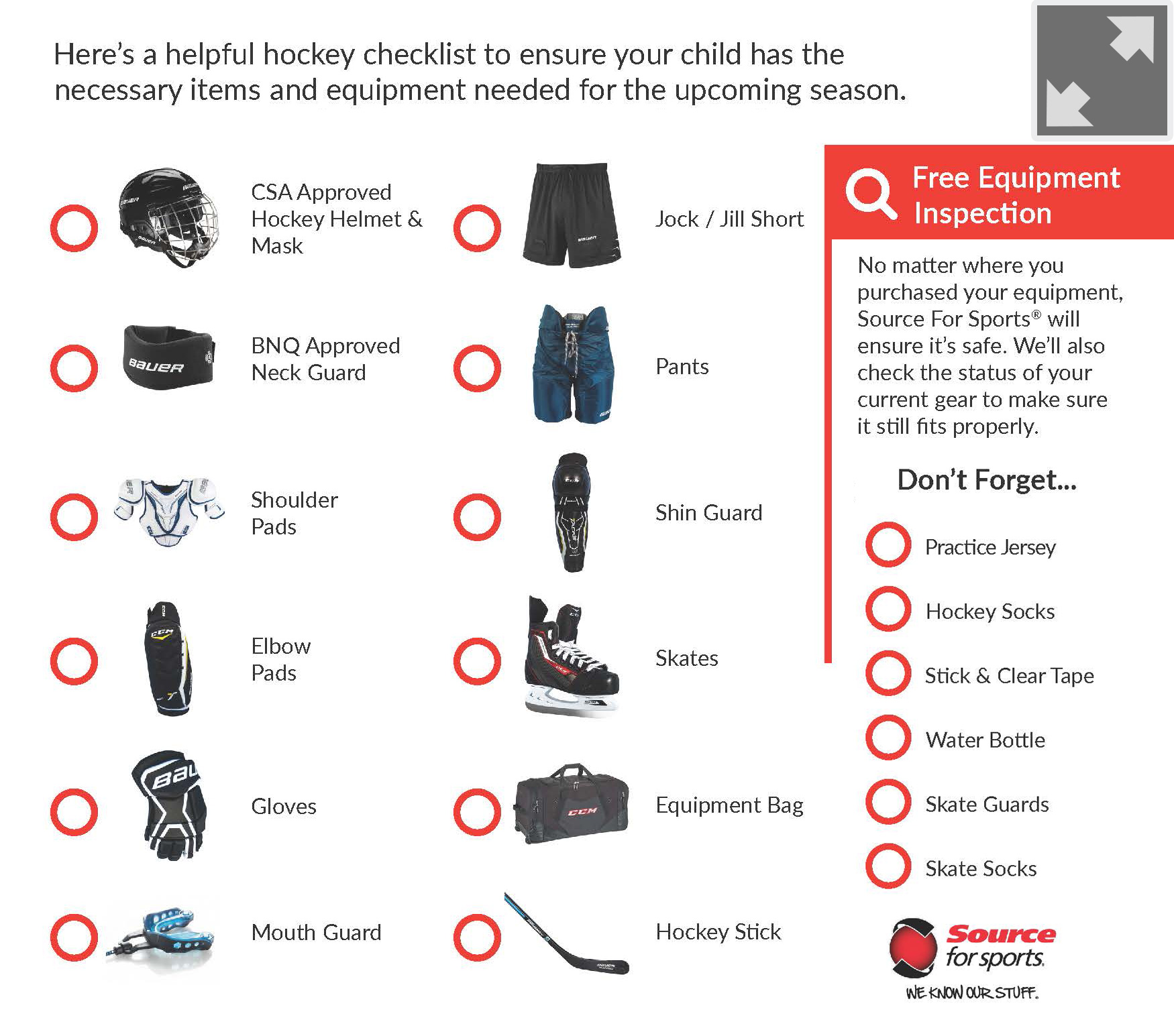 Hockey Equipment Checklist | Source For Sports