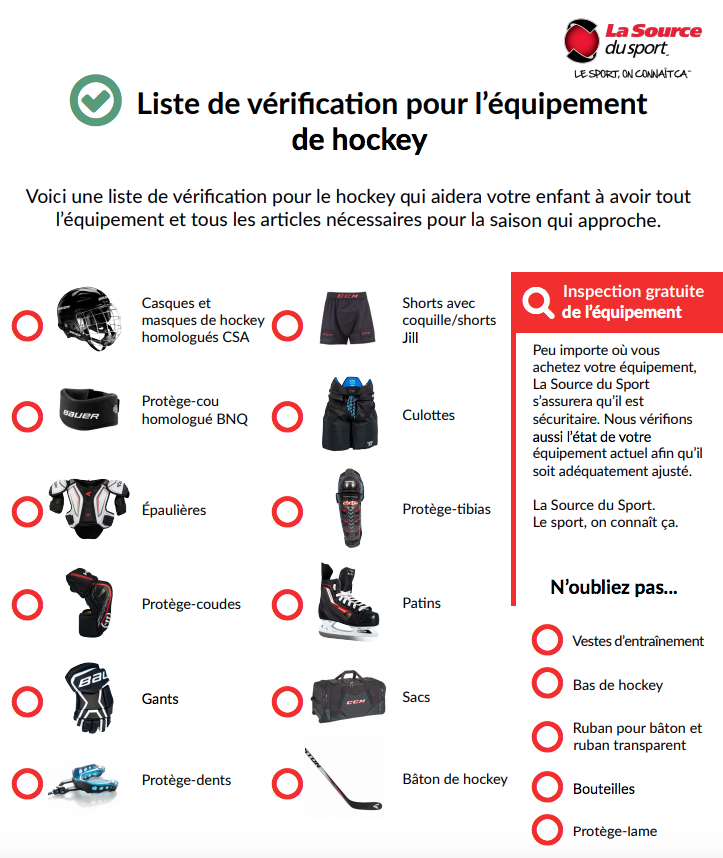 Liste de vérification pour l'équipement de hockey | La Source du Sport