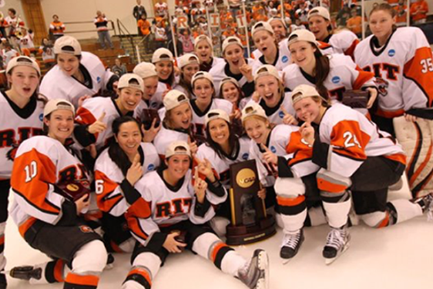 Megan Kobar and her teammates celebrating their victory winning the National Championship