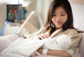 Healthcare marketing communications - woman with newborn