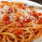 Lidia's Italy Live Bucatini with Pancetta, Tomato and Onion