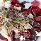 Lidia's Roasted Beet and Beet Greens Salad with Apples and Goat Cheese
