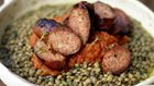 Jamie's Great Italian Escape - Sausages and green lentils with tomato salsa
