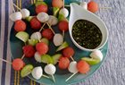Pati's Mexican Table - WATERMELON, TOMATILLO & MOZZARELLA SKEWERS WITH LIME-HONEY VINAIGRETTE