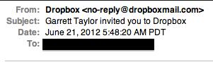 A fake Dropbox invitation virus