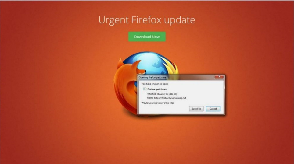 This fake Firefox update is actually a common virus