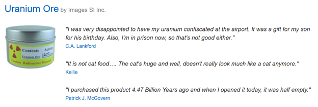Funny Amazon Reviews for Uranium