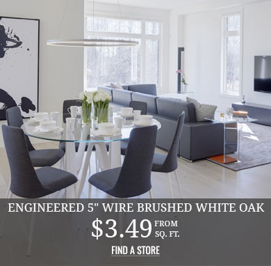 Engineered 5in Wire Brushed White Oak $3.49 sq.ft.