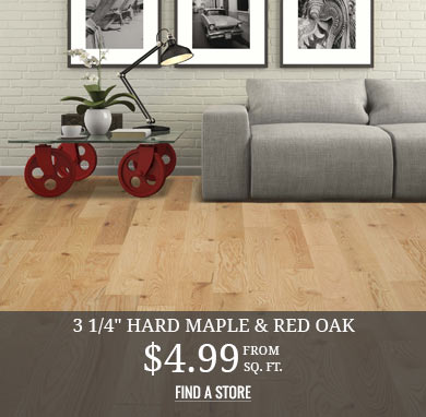 Solid 3 ¼ in Red Oak & Hard Maple from $4.99 sq.ft.