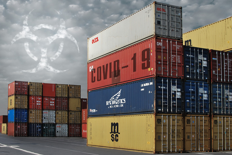 COVID-19, shipping containers