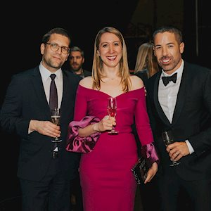 COC General Director Alexander Neef and 17/18 Opera Club Co-Chairs Lauren Di Pede and Kristjan Hayden, photo: Gaetz Photography