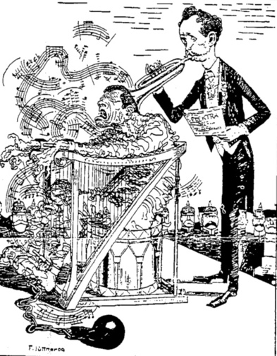 Satirical cartoon depicting Elektra