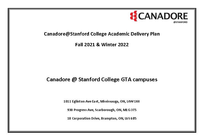 Stanford academic delivery Plan fall 2021