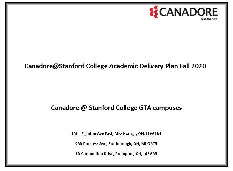 Stanford Academic Delivery Plan