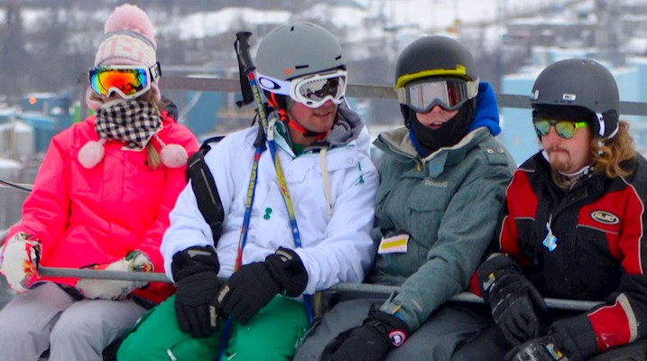 Students on a ski lift