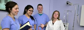 Nursing students in a simulation lab