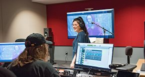 Student recording audio