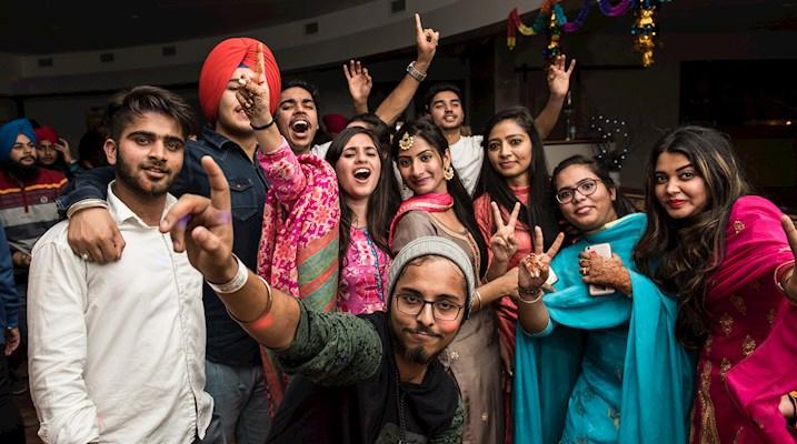 Students at Diwali