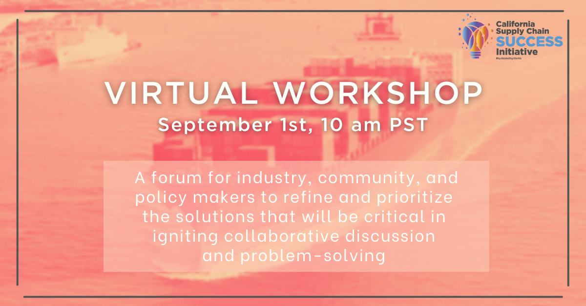 This free Virtual Workshop on September 1 at 10am PST will provide a forum for industry, community, and policy makers to refine and prioritize the solutions that will be critical in igniting collaborative discussion and problem-solving.