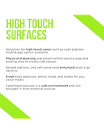 High touch surfaces