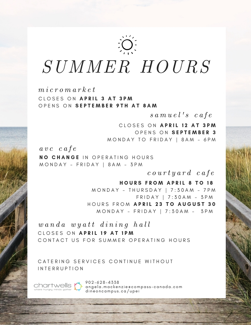 Summer Operating Hours 2019