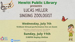 Virtual Event - Hewitt Library Presents Singing Zoologist Lucas Miller