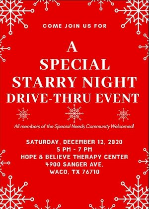 A Special Starry Night Drive-thru Event - Hope and Believe Pediatric Therapy