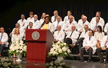 Comfort Orebayo, second-year medical student, speaks at KCU's White Coating Ceremony.