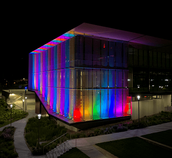 Pride colors shine on the Center for Medical Education Innovation throughout the month of June